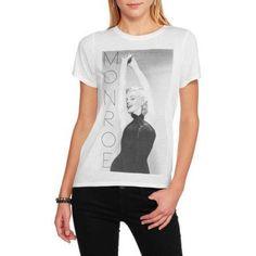 Marilyn Monroe Juniors Graphic HiLo Tee Shirt, Size: Medium, White