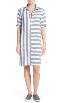 Caslon® Print Linen Tunic Dress (Regular & Petite) available at #Nordstrom