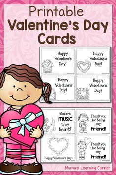 Download a set of free printable Valentine's Day Cards - 8 designs included! These cards are black & white so your kids can color them!