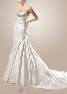 Glamorous Satin Princess Strapless Scoop Wedding Dress With Appliques,Beads and Rhinestones W2013