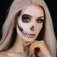 WEBSTA @ kaylahagey -  Half skull  It's been a long time since I've done any skull-related makeup but I feel like I've come a long way (mostly thanks to tutorials/reference photos from people like @alexfaction and @desiperkins )! I know it's not the most original makeup idea but I love seeing so many different takes on classic looks this time of year Products: @katvondbeauty Lock It foundation in 42   45 • @mehronmakeup white paradise paint • @makeupgeekcosmetics Unexpected, Mocha, C...