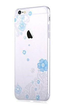 Devia iPhone6s ケース iPhone6 ケース TPU ソフト クリア カバー キラキラ スワロフスキー おしゃれ 花柄 耐衝撃 超薄型 携帯ケース (iPhone6s/6用(4.7インチ) ブルー)