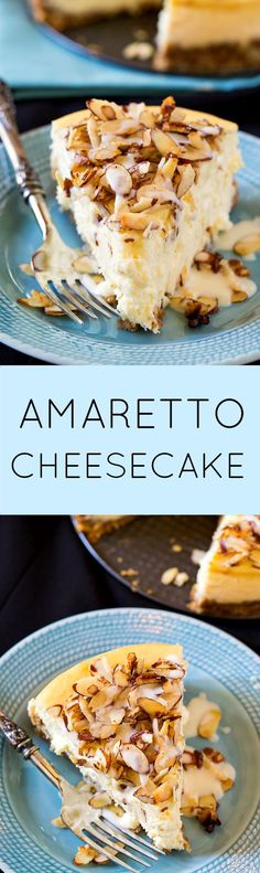 Amaretto Cheesecake with a crunchy almond topping.