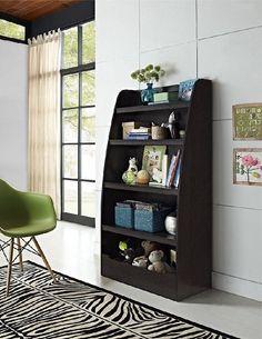 Wood Bookcase 4 Shelves Organizer Hazel Kids Storage Toy Home Furniture Espresso #Cosco
