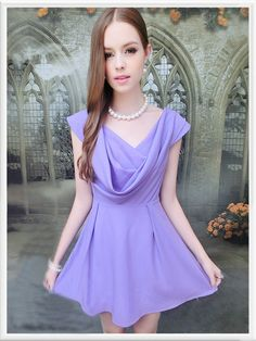 Morpheus Boutique  - Purple Chiffon Sleeveless Drape Front Pleated Dress