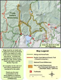 Forest Service - Dogs need to be on-leash on trails in the Three Sisters Wilderness Lakes, Moraine Lakes, Moraine Lake, Green Lake, Forest Service, Central Oregon, Three Sisters, National Forest, Go Camping, Wilderness, Traveling By Yourself