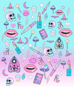 Girly Pastel Witch Goth Pattern, add some magic and sparkle to your life! / ❤️‍ Magical mushrooms / ❤️‍ Star wand / ❤️‍ Crystal ball / ❤️‍ Eight-inch heels / ❤️‍ Spell book / ❤️‍ Pink lipstick / And so much more… this witch is ready to take on the world! • Buy this artwork on apparel, stickers, phone cases, and more.