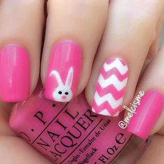 We have Instagram user@melcismeto thank for this oh so cute nail design. She used hot pink polish and white to create this mani. We love how she kept it simple with just a bunny head and chevron print but you could mix it up with polka dots, flowers or stripes.
