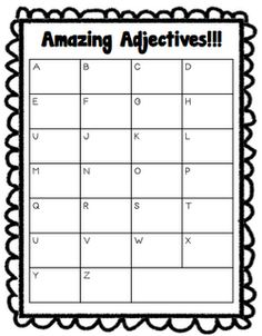 Writing graphic organizer, that can also be an adjective anchor chart when made bigger.