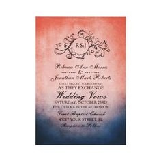 Rustic Blue and Pink Bohemian Wedding Invitation  This classy dark navy blue and coral pink colored invitation features a beautiful monogram flourish swirls against an vintage inspired grunge shabby chic background. Elegant text is completely customizable so you can use this for other events such as bridal shower, wedding shower, vow renewal, 50th wedding anniversary, and engagement party invitations.