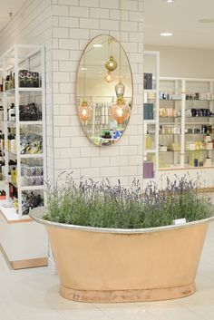 white, lavender. LOVE the bathtub. Adds a bit of rustic without being bulky and overwhelming.