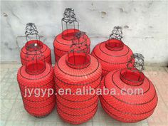 hand held craft red chinese lanterns metal lanterns festival decor