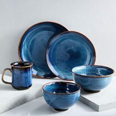 Ocean Waves Dinnerware Set Ocean Waves Small Bowls, Set of 4 Pottery Plates, Ceramic Plates, Ceramic Pottery, Ceramic Art, Marble Plates, Thrown Pottery, Slab Pottery, Blue Plates, Stoneware Dinnerware
