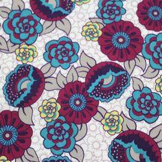 Lilio Retro Floral Modal Cotton Jersey Knit Fabric