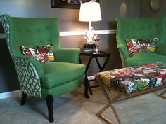 Wing Chair Back Upholstery: Imperial Trellis in Treillage / Ivory, Bench & Pillows: Chiang Mai Dragon in Alabaster, Schumacher Sofa Design, Furniture Design, Interior Design, Upholstery Repair, Furniture Upholstery, Upholstery Cleaner, Lounge Furniture, Upholstery Tacks, Upholstery Cushions