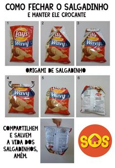 The Right Way to Seal a Bag of Chips: Master the Origami Bag Fold. Save the world's chips! Chip Bag Folding, Trick 17, Origami Bag, Oragami, Do It Yourself Home, Potato Chips, Veggie Chips, Home Hacks, 25 Life Hacks