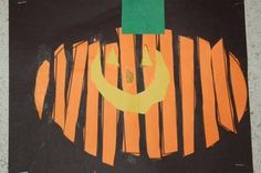 """pumpkin slices This is an orange oval with lines that they children """"strip"""" one at a time and glue down, leaving a little black space each time."""