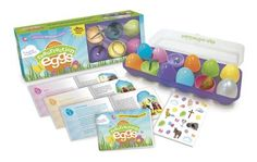 Crack open the glorious story of Jesus' resurrection! Stored in a plastic carton, a dozen rainbow-hued eggs are filled with surprises. Pop them open and find miniature symbols of Easter inside! An updated companion booklet in English and Spanish features illustrated Bible stories explaining the significance of each object. Includes decorative stickers! Ages 5 and up.