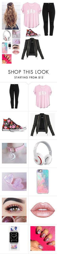 """Outfit"" by gabymyredis ❤ liked on Polyvore featuring Gap, Converse, Balmain, Hannah Martin, Beats by Dr. Dre, Casetify and Lime Crime"