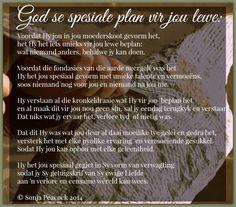 Afrikaanse Inspirerende Gedagtes & Wyshede: God se spesiale plan vir jou lewe gedig