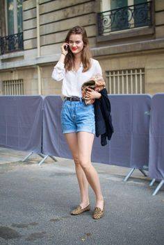 Summer Outfit Idea: High waisted cut off denim shorts, button down shirt + leopard print loafers