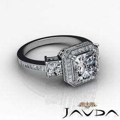 Princess Cut Diamond Three Stone Engagement Ring EGL G SI1 14k White Gold 2 15ct | eBay
