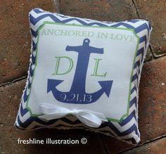 Anchored in Love Ring Bearer Pillow Ring Pillow by Freshline