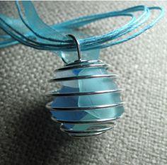 "Sea Glass Summer ""Beach Ball"" Pendant. via Etsy."