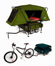 Camper Trailer with Oversize Tent Cot Innovative bicycle camper trailer . I got to have thisInnovative bicycle camper trailer . Camping Near Me, Camping Glamping, Outdoor Camping, Outdoor Gear, Camping Survival, Camping Gear, Camping Hacks, Camping Supplies, Backpacking
