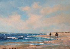 Ruiters op het strand. 30 x 40 cm door Herman Dasselaar