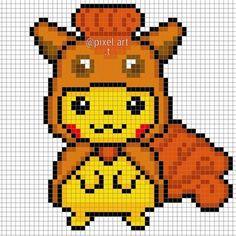 Pixel Pattern, Pattern Art, Cross Stitch Designs, Cross Stitch Patterns, Beta Games, Hama Beads Pokemon, Pokemon Cross Stitch, Cute Pikachu, Iron Beads