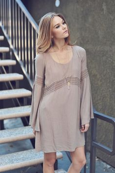 Bell Sleeve Boho Dress with Crochet Detail and Tie Back
