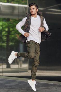 cfbc0cbebf1e Spodnie joggery bojówki męskie zielone Denley 0475. Mens ...