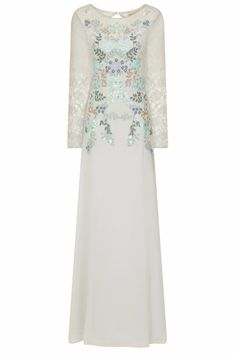 This ethereal, pale blue maxi dress features delicate embroidery in blue, green and bronze, adorned with blue and gold floral sequins. Bridesmaid Dresses, Prom Dresses, Formal Dresses, Wedding Dresses, Vintage Inspired Dresses, Vintage Dresses, Frock And Frill, Special Dresses, Frocks