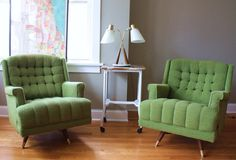60's green chairs (so comfy looking)