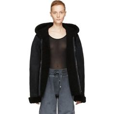 YEEZY Black Short Shearling Jacket (2,025 CAD) ❤ liked on Polyvore featuring outerwear, jackets, black, ink, short hooded jacket, long sleeve jacket, hooded drawstring jacket, shearling jacket and zipper jacket