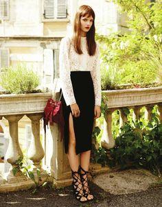 Look con falda de terciopelo en negro de Primark