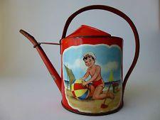 Sand pail tin watering can German 1930s shovel boat children beach