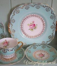 Shabby Chic - Great vintage china, so sweet! Love the rose inside of the teacup. by letitia