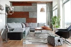 Corrugated metal horizontal BASEMENT IDEA. This with the open ceiling? Wonder about cost compared to dry wall? contemporary living room by Groundswell Design Group, LLC