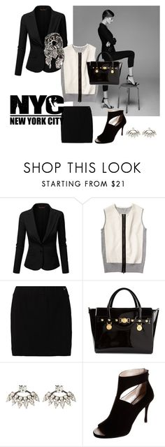 """""""working time"""" by katymaybepsycho ❤ liked on Polyvore featuring J.TOMSON, Reed Krakoff, TWINTIP, Versace, DANNIJO, DKNY and Balmain"""