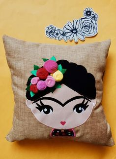 Handmade Crafts, Diy And Crafts, Arts And Crafts, Sewing Pillows, Diy Pillows, Doll Crafts, Sewing Crafts, Kids Blouse Designs, Frida And Diego