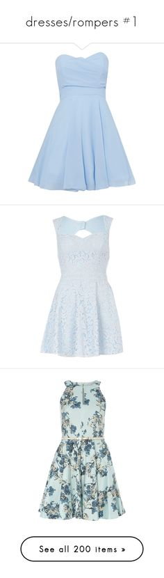 """""""dresses/rompers #1"""" by basic-snapchat-filter ❤ liked on Polyvore featuring dresses, vestidos, short dresses, blue, light blue, sale, mini dress, fit and flare dress, fit and flare mini dress and light blue dresses"""