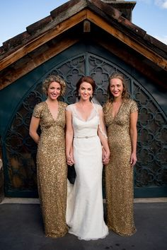 gold and glitzy v-necked bridesmaid gowns by Nicole Miller | photo by davina + daniel