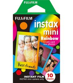 Instax Rainbow film makes credit card sized photos in approximately 90 seconds. Develops Instantly Makes 10 credit card sized photos with different color borders Easy-To- Load Cartridge