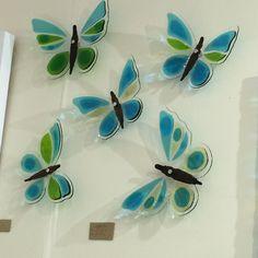 Glass butterflies by Jo Downs Dichroic Glass, Fused Glass, Grand Designs Live, Glass Butterfly, Butterflies, Glass Art, Craft Ideas, Christmas, Crafts