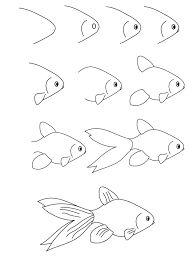 """Résultat de recherche d'images pour """"dessin par étape poisson"""""""