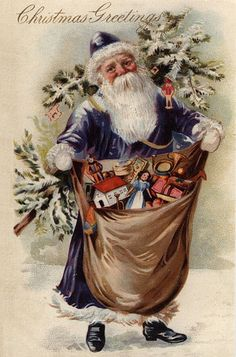Vintage Christmas postcard Santa in blue coat Vintage Christmas Images, Old Fashioned Christmas, Christmas Past, Victorian Christmas, Father Christmas, Vintage Holiday, Christmas Pictures, Christmas Greetings, Christmas Postcards
