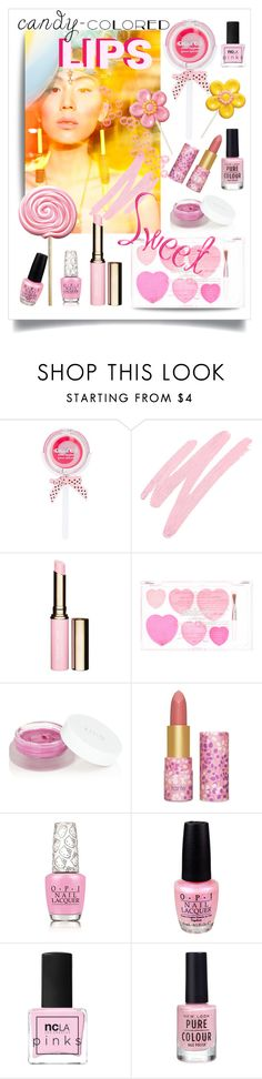 """""""you are my candy girl"""" by collagette ❤ liked on Polyvore featuring beauty, NARS Cosmetics, Clarins, rms beauty, tarte, OPI, ncLA, New Look, Beauty and candylips"""