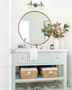 If you have a small bathroom in your home, don't be confuse to change to make it look larger. Not only small bathroom, but also the largest bathrooms have their problems and design flaws. Coastal Bathrooms, Small Bathroom, Bathroom Green, Bathroom Ideas, Bathroom Vanities, Remodel Bathroom, Bathroom Cabinets, Budget Bathroom, Bathroom Remodeling